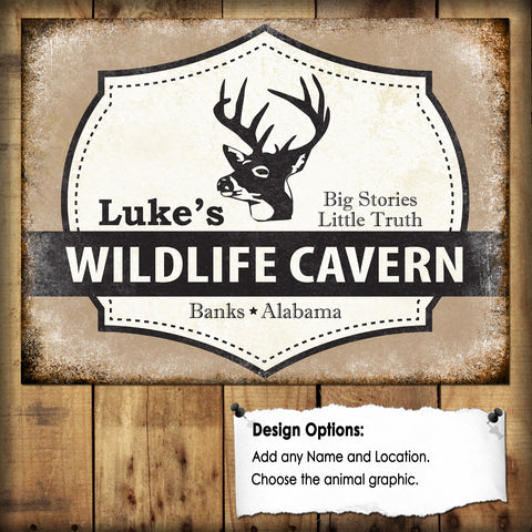 "Custom Wildlife Cavern  // 1 Aluminum Sign // Indoor or Outdoor // 12"" x 16"""