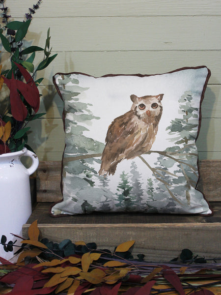 "Owl // 16""x16"" // Wilderness Accent Pillow with Insert"