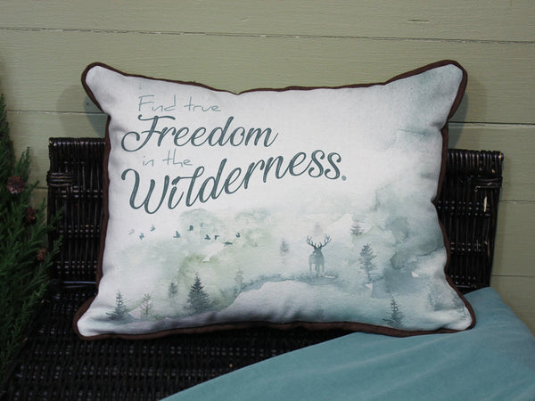"Find Freedom in the Wilderness // 12""x16"" // Wilderness Accent Pillow with Insert"