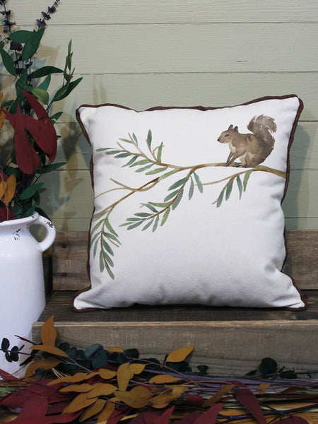 "Squirrel // 16""x16"" // Wilderness Accent Pillow with Insert"
