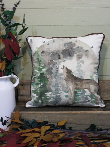 "Wolf // 16""x16"" // Wilderness Accent Pillow with Insert"