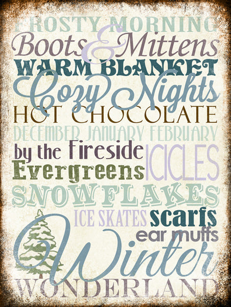 "Winter Word Art // Santa // 1 Aluminum Sign // Indoor or Outdoor // 12"" x 16"""