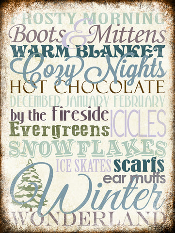 "Winter Word Art // 1 Aluminum Sign // Indoor or Outdoor // 12"" x 16"""