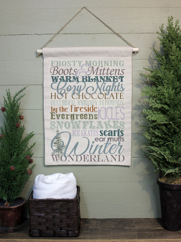 "Winter Word Art // 12""x16"" // Canvas Banner Flag // Winter Christmas Decor"
