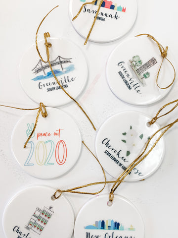 Personalized ornaments for Charleston, Charlotte, Savannah, New Orleans and Greenville.