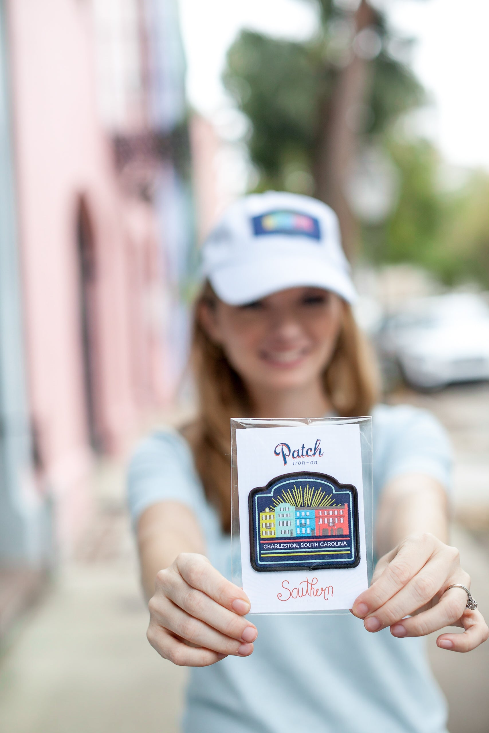 Rainbow row patch makes a great Charleston souvenir.