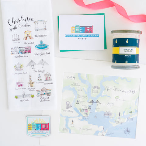 An array of gift ideas with a Charleston theme, featuring landmarks like Rainbow Row, Waterfront Park and the Ravenel Bridge.