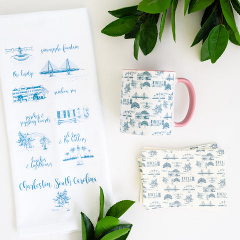 Charleston gift ideas include tea towels, mugs, and cards.