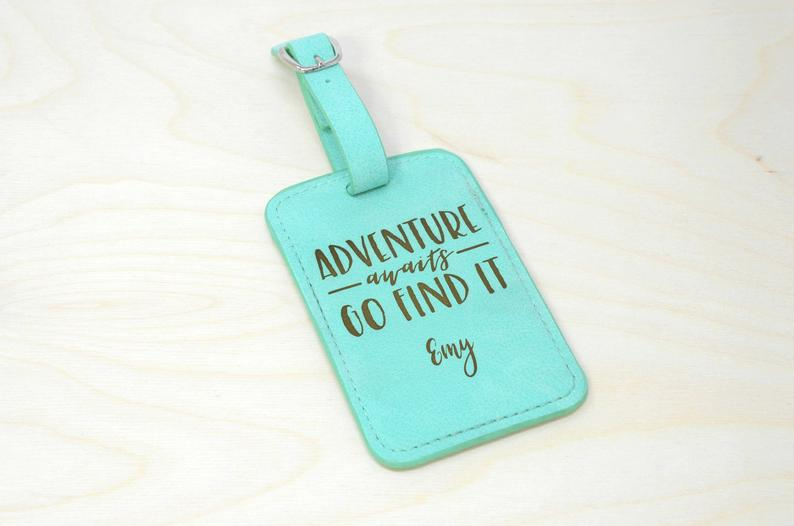 Custom luggage tags are a great travel gift idea.