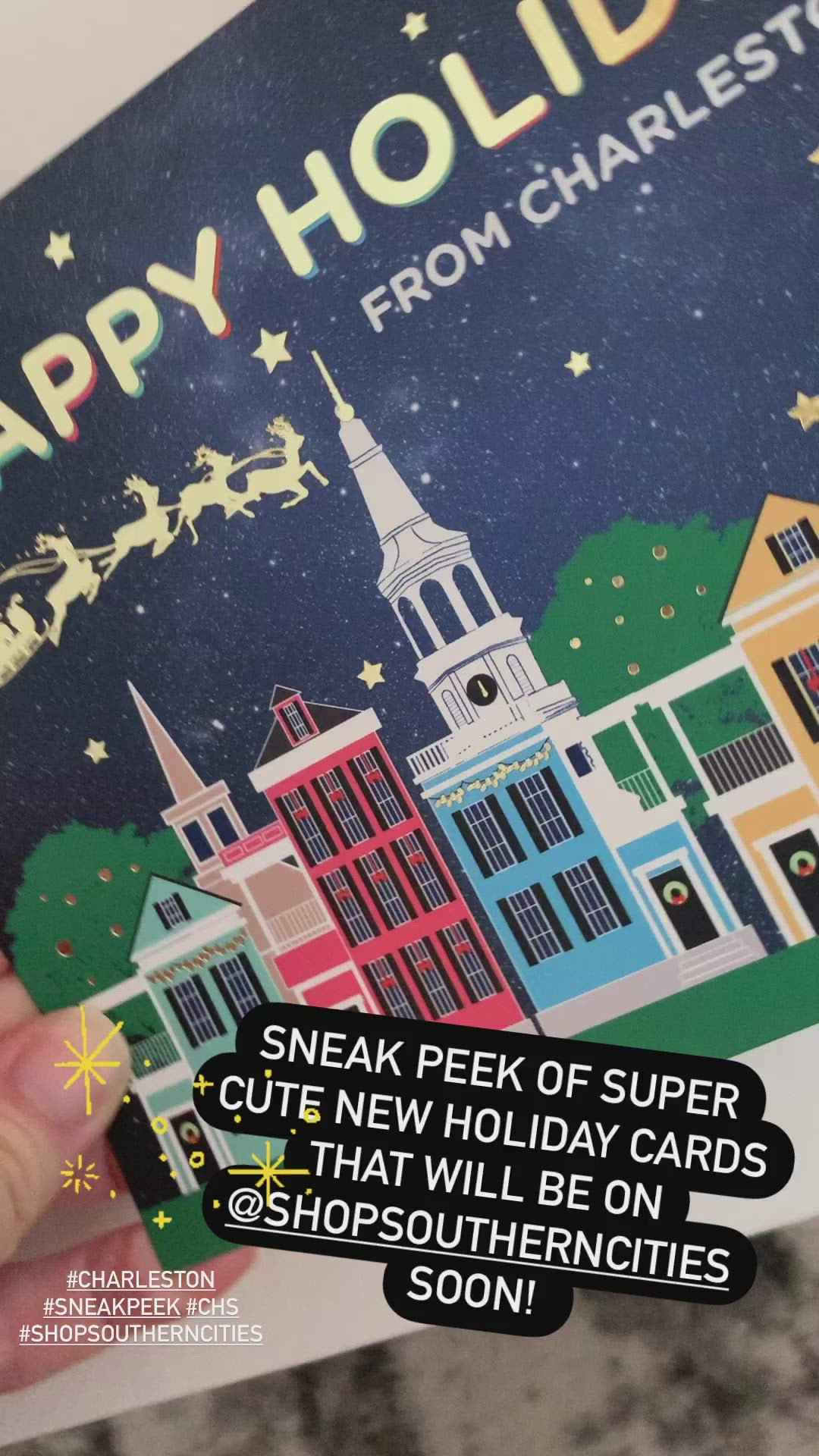 Holiday Postcards with Gold Foil