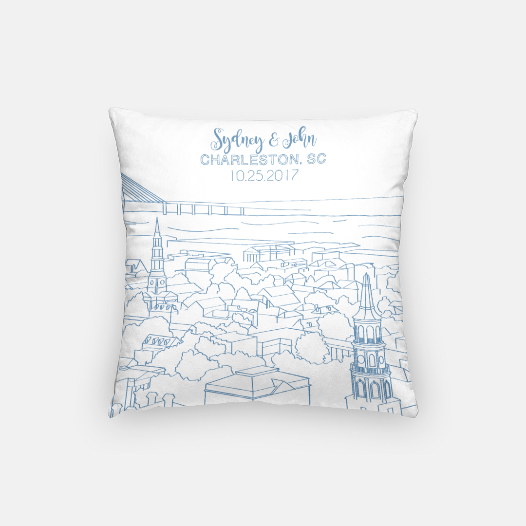 The Holy City Pillow (Blue)