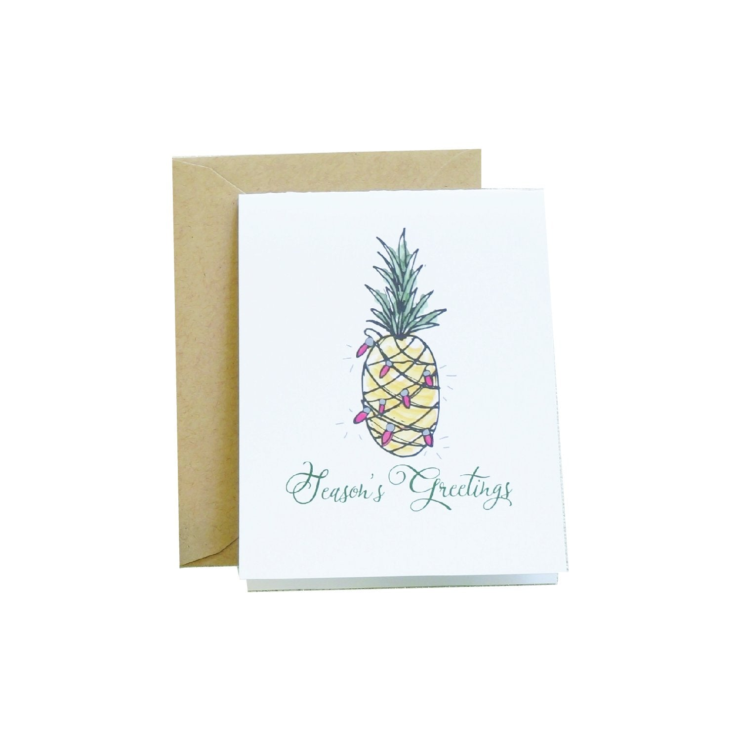 Watercolor Pineapple Holiday Card (personalize it!)