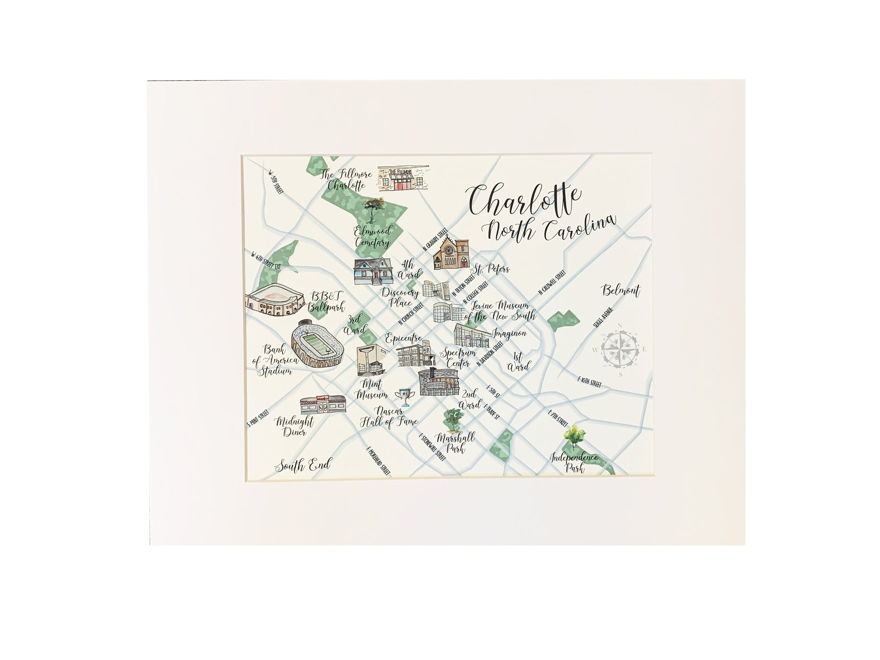 charlotte map wall art watercolor map of charlotte nc