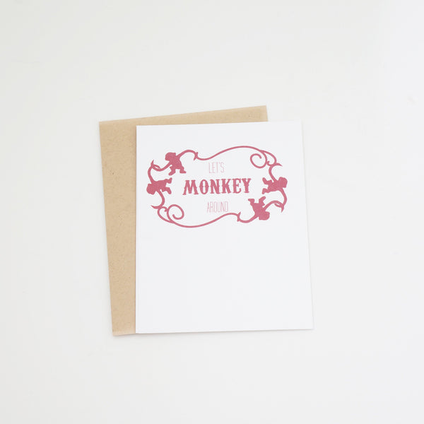 Let's Monkey Around Romantic Valentine's Day Card - shop greeting cards, handmade stationery, & wedding invitations by dodeline design
