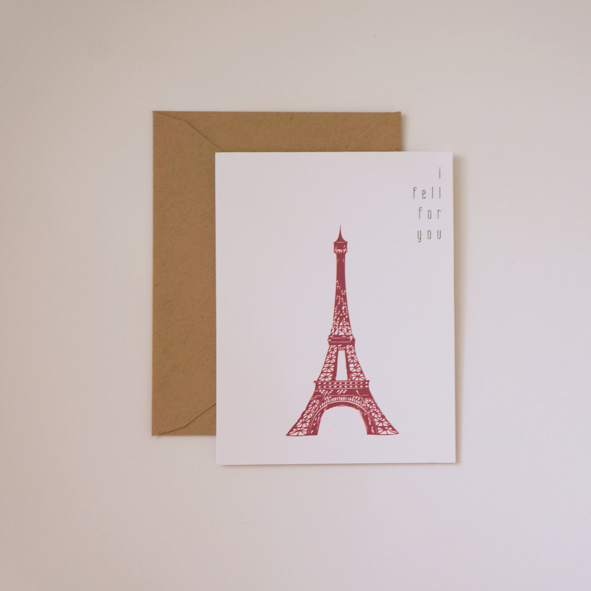 I Fell For You Valentine's Day Card French Inspired Paris - shop greeting cards, handmade stationery, & wedding invitations by dodeline design - 1