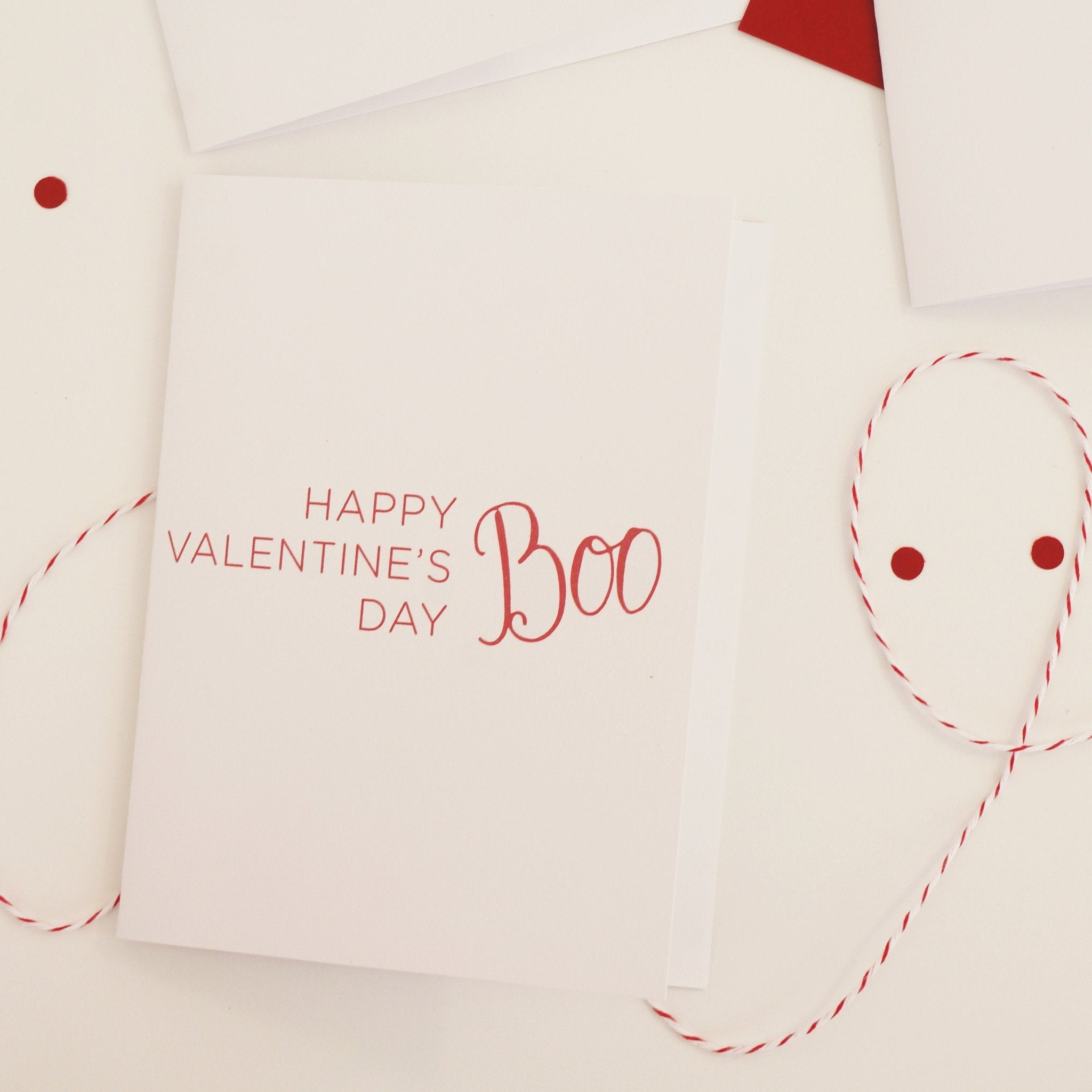 Happy Valentines Boo, Sweet Valentine's Day Card - shop greeting cards, handmade stationery, & wedding invitations by dodeline design - 1