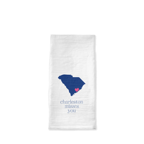 Charleston Misses You Tea Towel