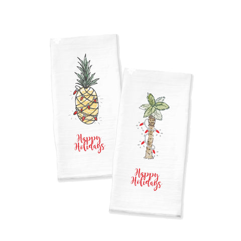 Holiday Palm Tree & Pineapple Tea Towel
