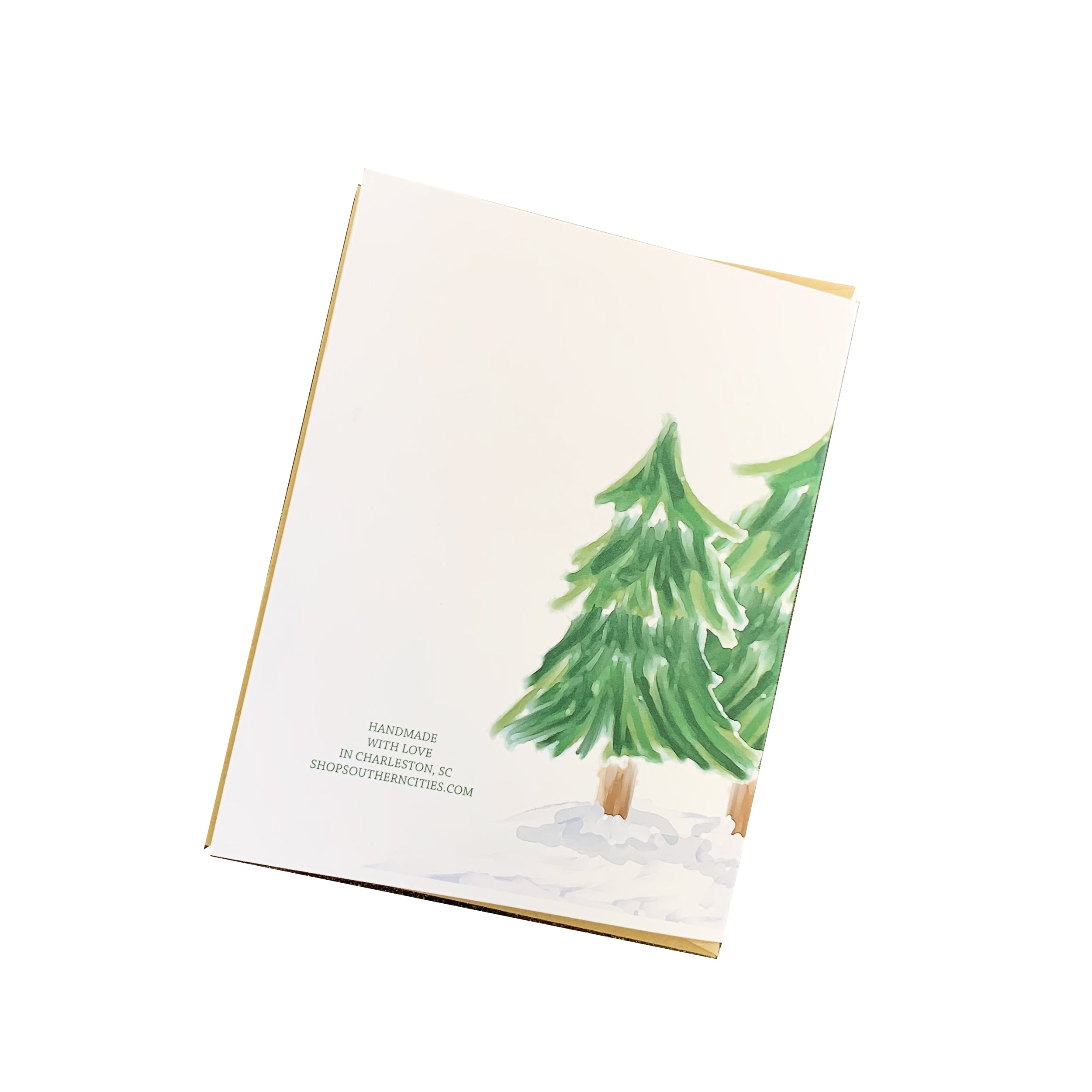 Watercolor Trees Christmas Card
