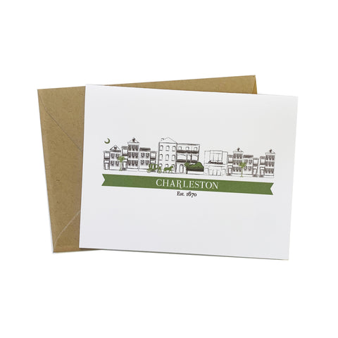 Charleston Cityscape Single Houses Greeting Card