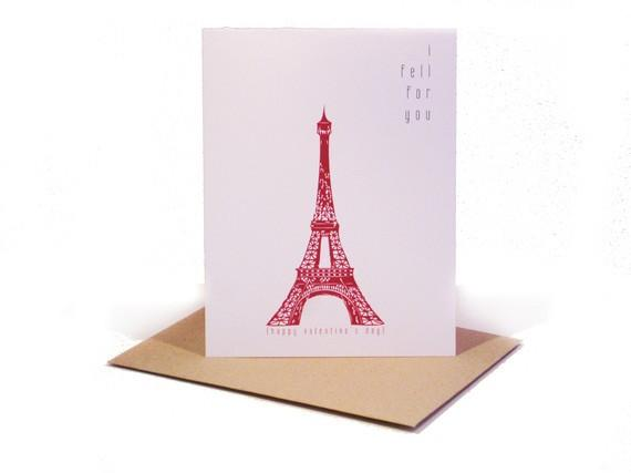 I Fell For You Valentine's Day Card French Inspired Paris - shop greeting cards, handmade stationery, & wedding invitations by dodeline design - 2