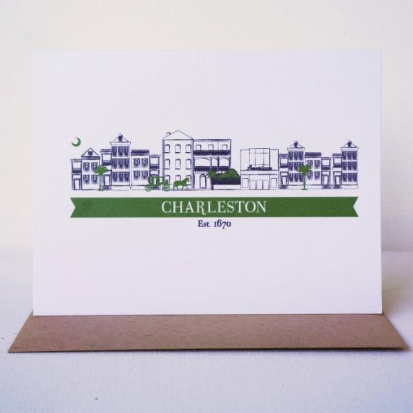 Charleston Cityscape Single Houses Greeting Card - shop greeting cards, handmade stationery, & wedding invitations by dodeline design - 1