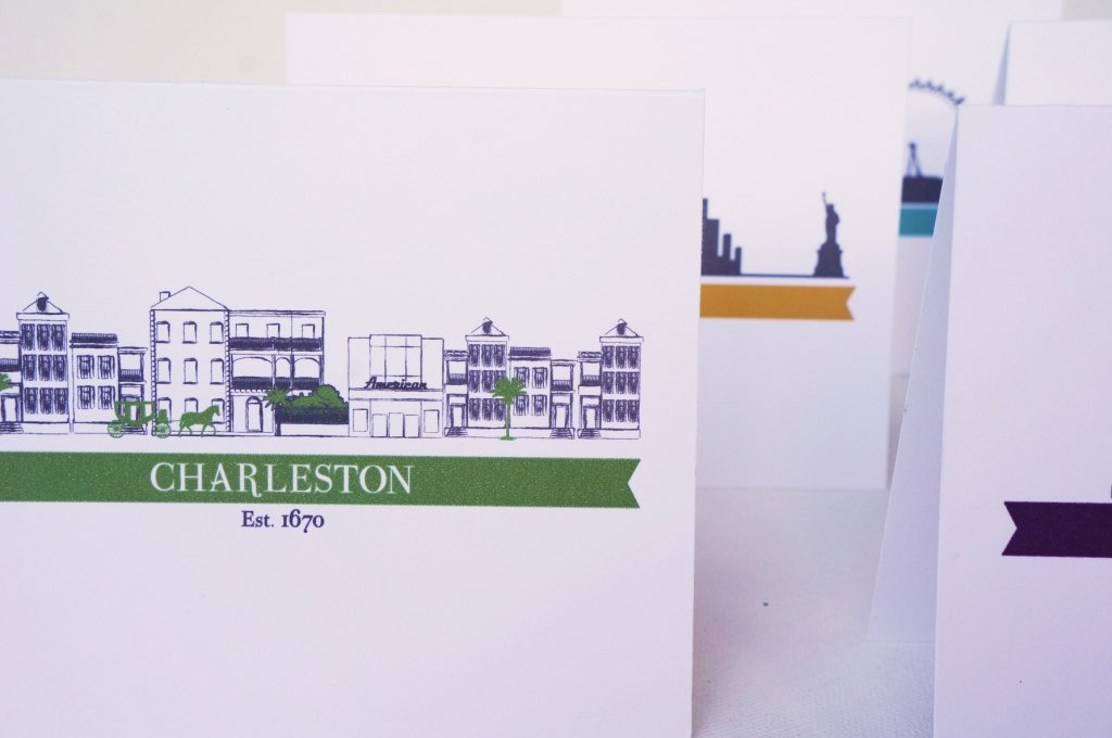 Charleston Cityscape Single Houses Greeting Card - shop greeting cards, handmade stationery, & wedding invitations by dodeline design - 3