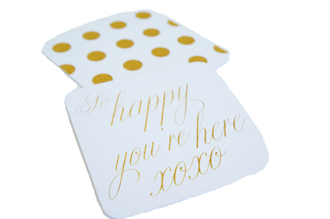 "Hostess Gift Coasters Gold Poka Dots ""So Happy You're Here"""
