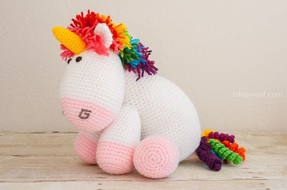 Adorable Rainbow Unicorn Crochet Tutorial Via 'ONE DOG WOOF'
