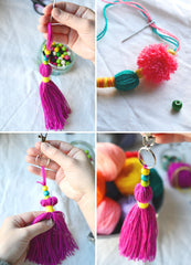 Pom Pom Bag Charm Free Tutorial