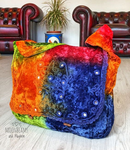 DELICIOUS RAINBOW VELVET BOHEMIAN TIE DYE HIPPIE SHOULDER BAG / SATCHEL - MoonbeamsandMayhem