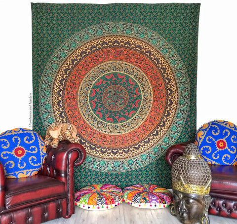 DIVINE MANDALA DOUBLE THROW / WALL HANGING / TAPESTRY - MoonbeamsandMayhem