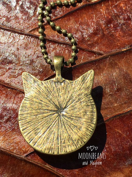 ENCHANTING BLACK CAT BRONZE NECKLACE / PENDANT - MoonbeamsandMayhem