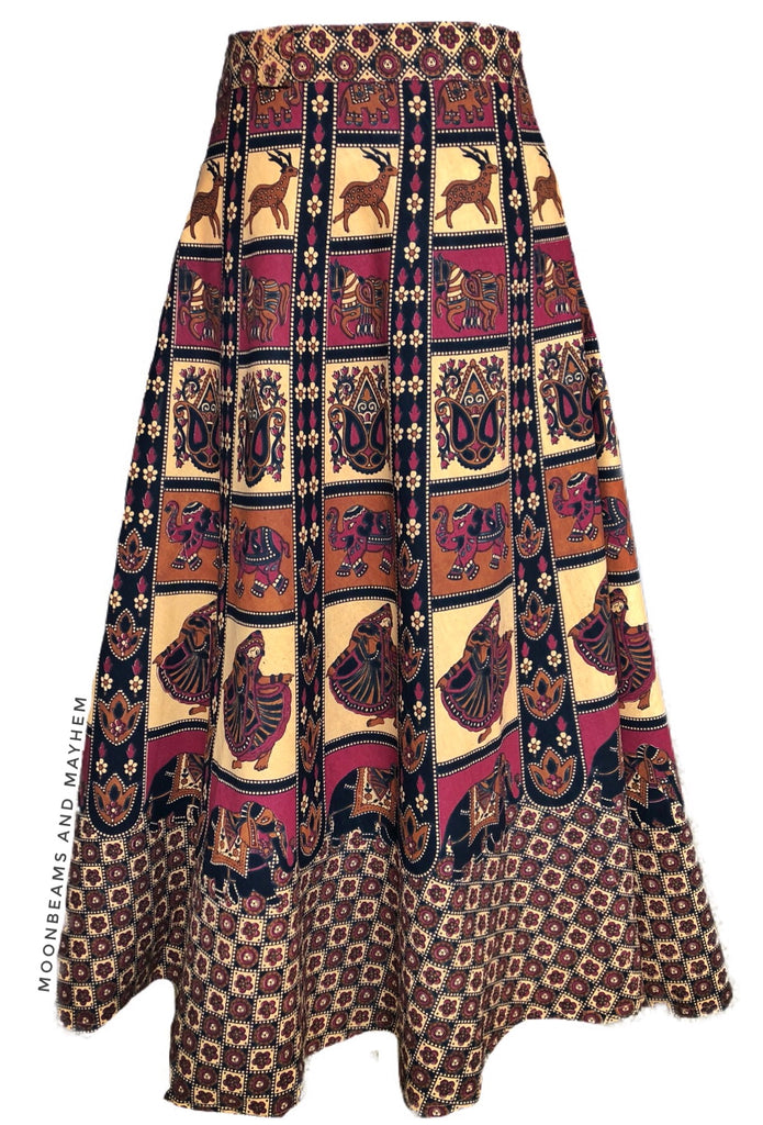 STRIKING BOHEMIAN AMBER WRAP SKIRT ( FREE SIZE ) - MoonbeamsandMayhem