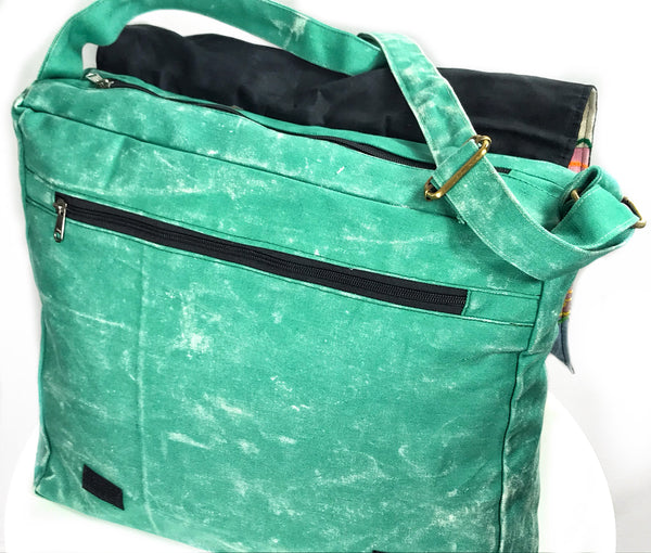 WONDERFUL OVERSIZED GREEN BOHEMIAN 'FOLK' SHOULDER BAG / SATCHEL - MoonbeamsandMayhem