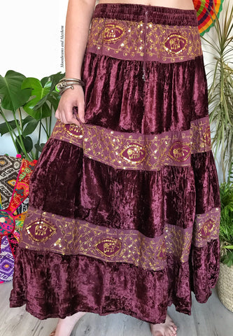 DELICIOUS DEEP WINE LONG VELVET JANIS SKIRT