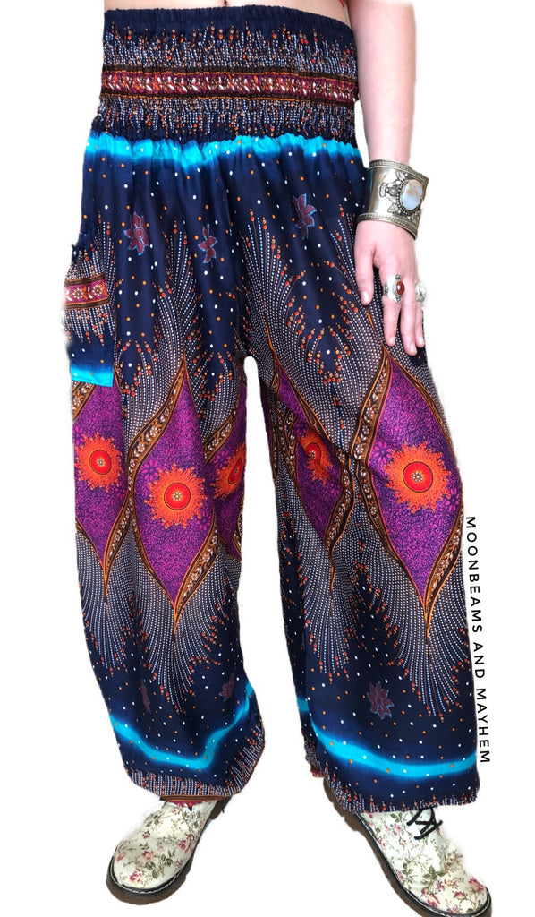 FABULOUS 'COSMIC SKY'' HAREM PANTS SIZES 6 - 20 - MoonbeamsandMayhem