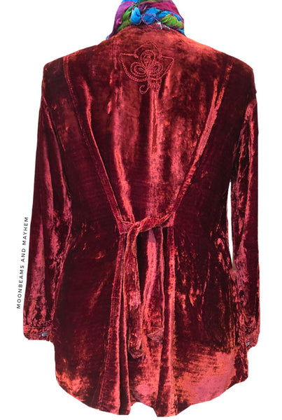 STUNNING INDIAN RED VELVET BLOUSE ( L ) - MoonbeamsandMayhem