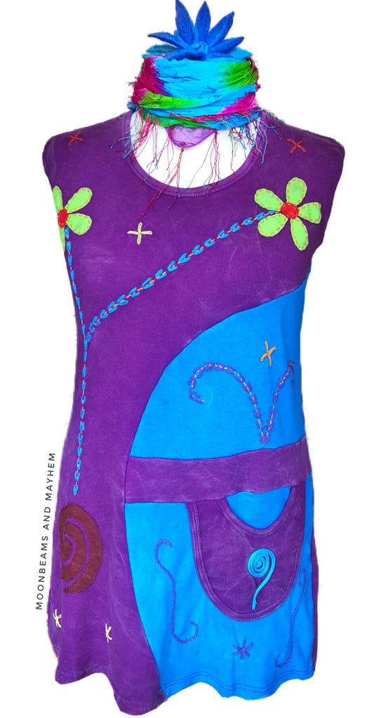 STRIKING SLEEVELESS HIPPIE TUNIC / DRESS UK SIZE 16 / 18 - MoonbeamsandMayhem