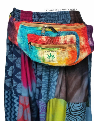 WONDERFUL HIPPIE HEMP MONEY BELT / WAIST BAG ( BUM / HIP BAG )