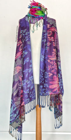 BEAUTIFUL ELIZA PURPLE PASHMINA STYLE SCARF / SHAWL