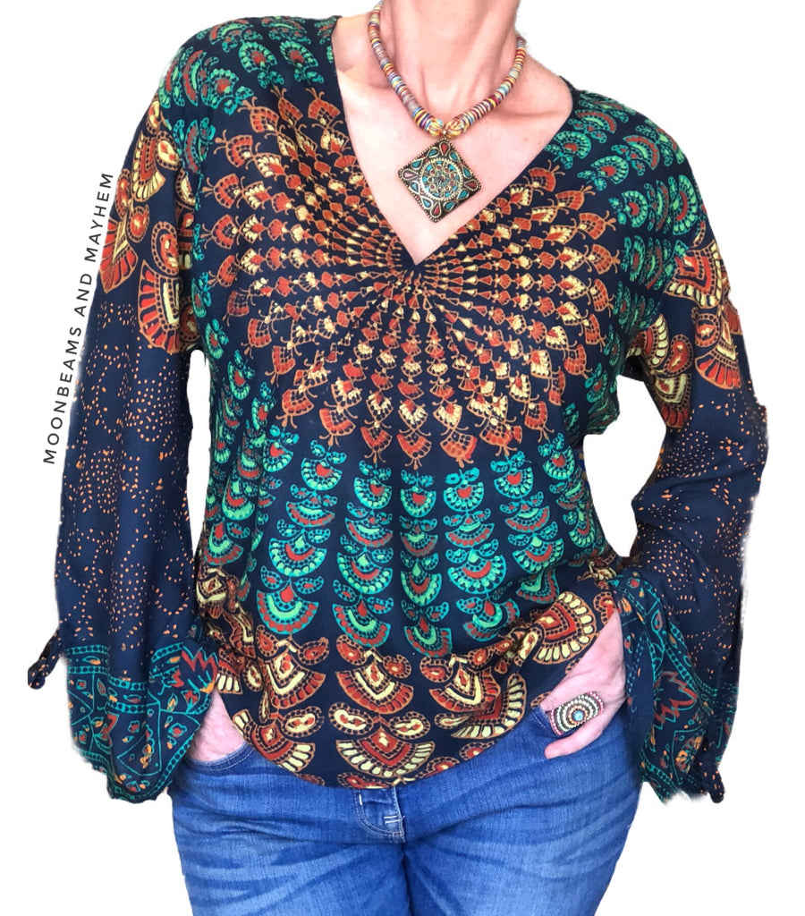 STUNNING GREEN / BLUE BOHEMIAN 'STARSHINE' MANDALA TUNIC / TOP - MoonbeamsandMayhem