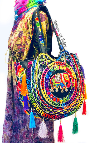 DIVINE BLACK 'SHAMBALA' TASSELED TOTE / BAG - MoonbeamsandMayhem