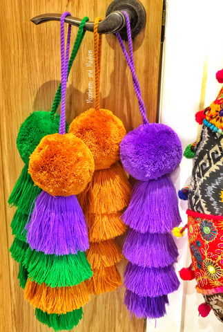 THE ULTIMATE HANGING POM POM TASSEL  / BAG ACCESSORY - MoonbeamsandMayhem