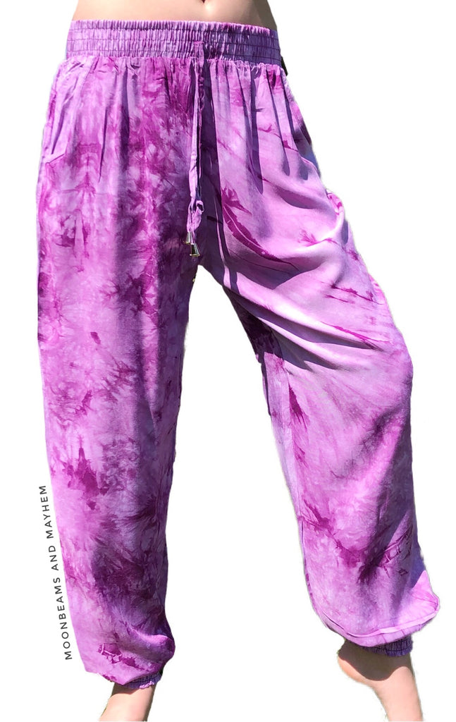 SUPER CUTE PURPLE TIE DYE HAREM PANTS SIZES 8 / 10 / 12 - MoonbeamsandMayhem