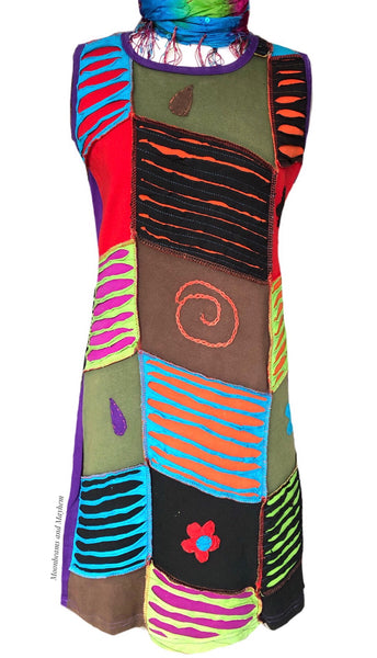 WILD THING SLEEVELESS COTTON HIPPIE DRESS / TUNIC - MoonbeamsandMayhem