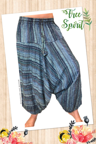 STONEWASHED BLUE PETITE HAREM PANTS - MoonbeamsandMayhem