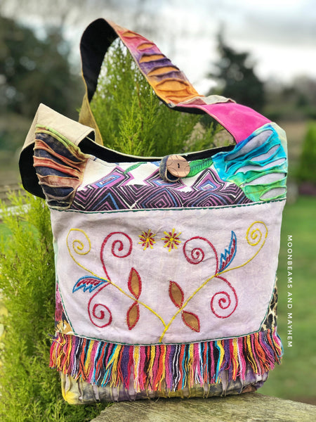 DELICIOUS COTTON LILAC 'FREEDOM' SHOULDER BAG - MoonbeamsandMayhem