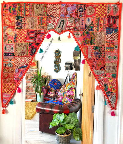 EXQUISITE LARGE INDIAN SUNBAKED ORANGE BOHEMIAN / HIPPIE DOOR TORAN - MoonbeamsandMayhem