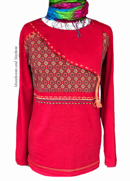 DELICIOUS RUBY RED COLINE LONG SLEEVED TEE - MoonbeamsandMayhem